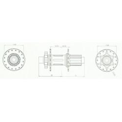 Moyeu HXR COMPONENTS Easy Shift Arrière 142/148x12 mm Shimano Brut